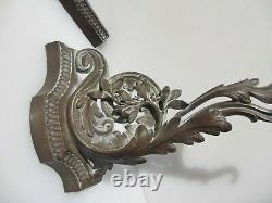 Antique Brass Fire Front Fender Kerb Gilt Leaf French Rococo Victorian Baroque