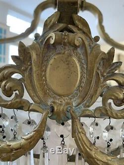Antique Bronze French Empire Victorian Basket Wedding Cake Crystal Chandelier