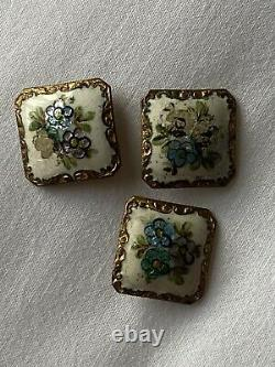 Antique Buttons Set 3 French Enamel 19C Gilded Napoleon III 1800s Square Old