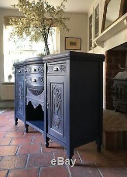 Antique Carved Victorian Painted French Style Navy Sideboard Server Cupboard