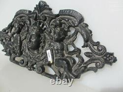 Antique Cast Iron Ormolu Mount Plaque Face Victorian Old Cherubs French Empire