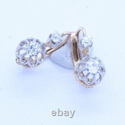 Antique Earrings 18k Gold Platinum Diamonds French Sleepers Old Jewelry Box6878