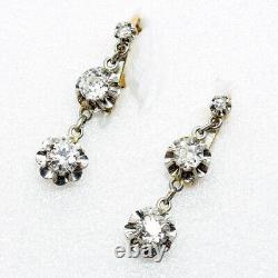 Antique Earrings Victorian Edwardian 18k Gold Diamonds French w Appraisal (6330)