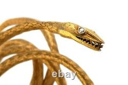 Antique Etruscan Revival Victorian French 22k Gold Coiled Woven Snake Bracelet