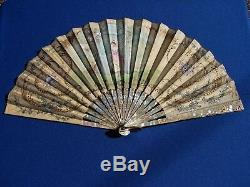Antique FAN VICTORIAN FRENCH CARVED Mother of Pearl SILK Hand PAINTED 1800's