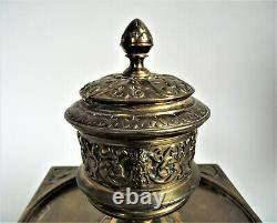 Antique FRENCH 19th BRONZE Figural Satyr DEVIL INKWELL Inkstand DESK Victorian