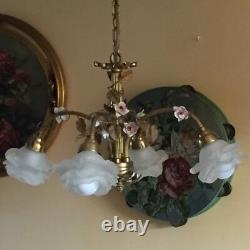 Antique FRENCH Bronze CHANDELIER Porcelaine Pink ROSES / Frosted White SHADES