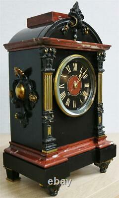 Antique French 19thC 8 Day Striking Ornate Marble & 2 Tone Bronze Mantle Clock