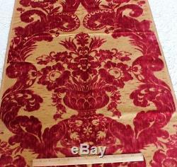 Antique French 19thC Victorian Big Floral In Vase Silk Cut Velvet FabricXmas