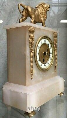 Antique French Alabaster Eight Day Clock, Great Condition