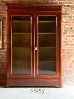Antique French Bookcase Vitrine Glass Cabinet Mahogany 19th century 1875 No. 2