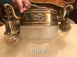 Antique French Brass Electric 4 Bulb Hanging Ceiling Wired Lamp Victorian Style