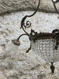 Antique French Brass Hanging Basket Chandelier Victorian Glass Ceiling Fixture