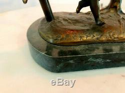 Antique French Bronze & Marble Lamp Putti Cherub Romantic Cherub Charm WORKS