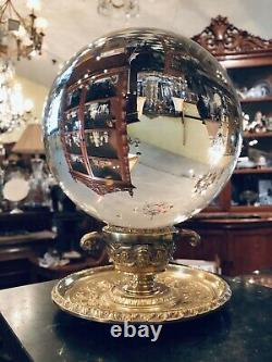 Antique French Bronze Ormolu Dual Faces Urn Crystal Ball Oracle Paranormal