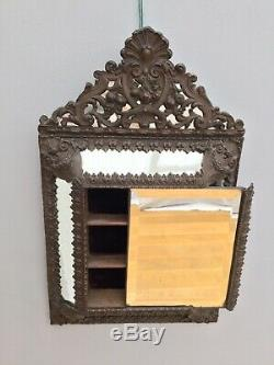 Antique French Cushion Wall Mirror Repousse Rococo Brass Toleware Bevelled 19thC