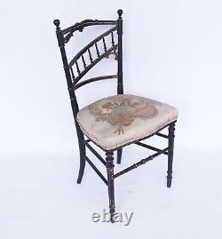 Antique French Ebonised Gilt Side Chair c1890 vintage