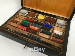 Antique French Ebony Wood / Wooden Artist Box / Victorian / Paints / Brass Inlay