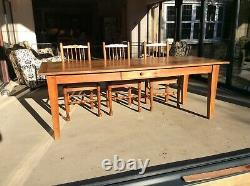 Antique French Fruitwood 3 Plank Top Farmhouse Refectory Dining Table
