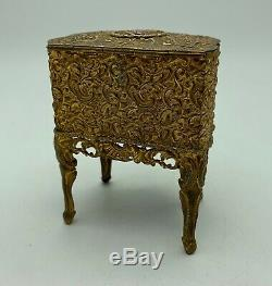 Antique French Gilded Brass Jewellery Box circa 1875