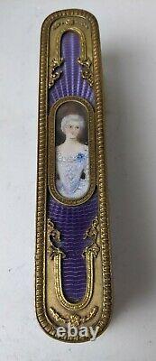 Antique French Gilt Bronze Guilloche Enamel Hand Painted Portrait Clothes Brush