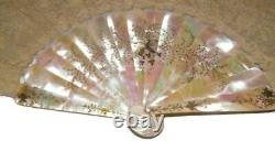 Antique French Inlaid Mother of Pearl Wedding Fan with Floral Brussels Lace #3