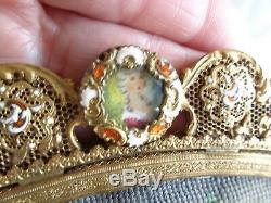 Antique French Lady Hand Painted Portrait Enamel Jeweled Ormolu Needlepoint Bag
