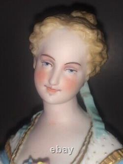 Antique French Limoges Bisque Porcelain Figurine Figure Woman Lady Maiden