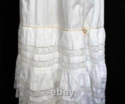 Antique French Long Victorian White Cotton Petticoat With Lace Trim 22 Waist
