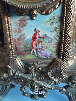 Antique French Louis XVI Style Porcelain & Brass German FHS Clock Victorian Buy