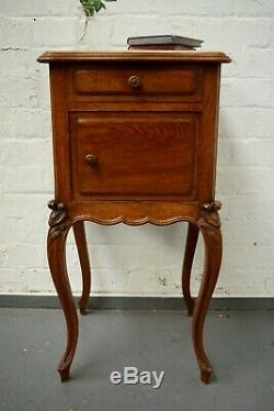 Antique French Marble Topped Bedside Cabinet / Cupboard Louis Style Boutique