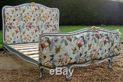 Antique French Newly Upholstered Standard Double Bed with Pine Base