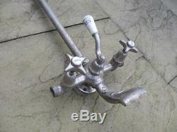 Antique French Nickel Brass Bath Mixer Shower Head Spout Vintage Victorian Old