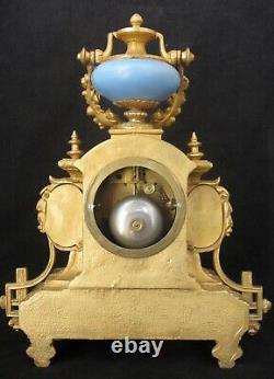 Antique French Ormolu & Porcelain Striking Mantel Clock, Painted Angel & Cherubs