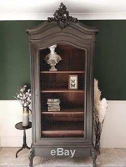 Antique French Painted Shabby Chic Armoire Cabinet Linen Press