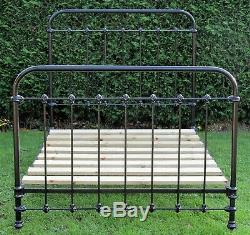 Antique French Painted iron Small Double (4 feet wide) Bed with Pine Slat Base