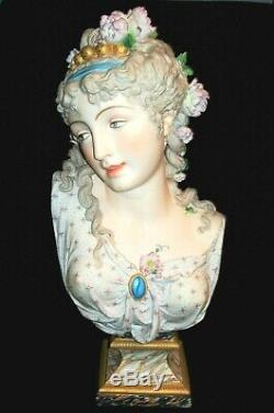 Antique French Paul Duboy Goddess Stunning Beauty Lady 23 Bisque Bust Figurine