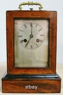 Antique French Rosewood & Marquetry Inlaid 8 Day Officers Mantle Carriage Clock