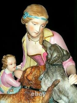 Antique French Sevres Era Lady & Baby Child With Dogs Bisque Porcelain Figurine