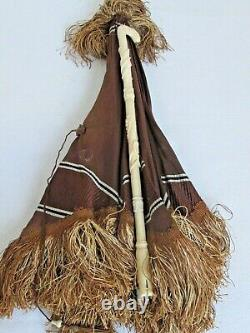Antique French Silk Doll or Child's Folding Parasol Carved Handle 1880's