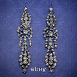 Antique French Triple Drop Paste Earrings Silver Gold Circa 1900