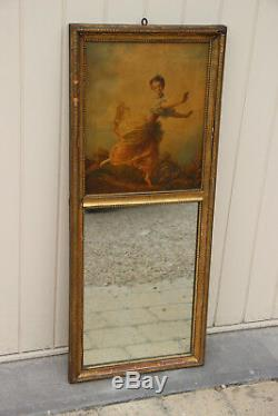 Antique French Trumeau mirror wood stucco litho victorian lady after Boucher