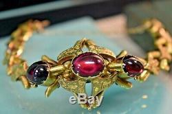 Antique French Victorian 14k engraved gold garnet large bracelet