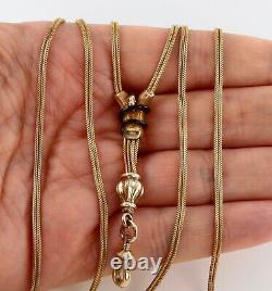 Antique French Victorian 15Ct Gold And Enamel Snake Watch Guard Chain Necklace