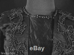 Antique French Victorian 1890's Black Silk Satin Beaded Dress Size 6-8