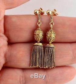 Antique French Victorian 18Ct Gold Pendant Drop Dangle Tassel Earrings c 1860's