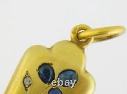 Antique French Victorian 18K Gold Sapphire Diamond Ruby Unusual Pendant