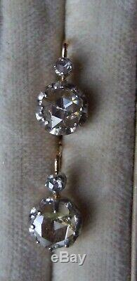 Antique French Victorian 18ct Gold Dutch Rose Cut Diamond leverback Earrings
