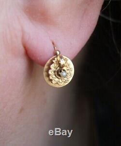 Antique French Victorian 18ct Rose Gold Lace small Dormeuses Earrings