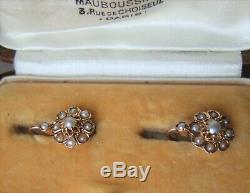 Antique French Victorian 18ct Rose Gold Pearl daisy cluster Leverback Earrings